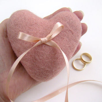 Wedding Ring Pillow Pink Heart, Ring Bearer, Blush Pink Wedding Pillow, Rustic Country Heart Ring Cushion, Felted Wool Heart