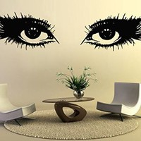 Wall Decals Makeup Girl Woman Cosmetic Eyes Fashion Vinyl Sticker Beauty Salon Home Decor Living Room Decor Art Mural Ms713