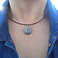 Sun and Moon Pewter Charm & Abalone Dark Brown / Black Leather Choker, Gift for her