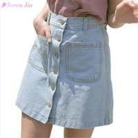 New 2018 women summer skirts fashion high waist skirts denim skort mini blue jeans skirt high quality cowboy A-line skirts