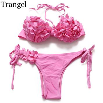 Women floral pattern flower low waist breast cup padded strappy swimwear pink color bathing bikini female