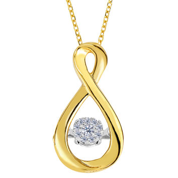 14k Yellow Gold Figure Eight Infinity Sign Dancing Diamonds 18 Inch Necklace - 0.10ct. Diamond