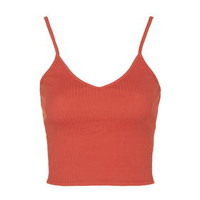 Strappy Ribbed Cami Top - Bright Red