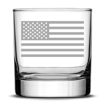 Premium American Flag Whiskey Glass, Sand Carved 10 oz Drinking Glasses, Hand Etched