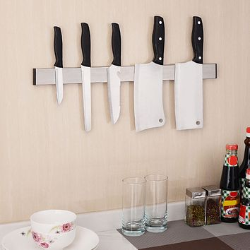 Behokic Magnetic Self-adhesive 12.2 inches Length Knife Holder Stainless Steel Block Magnet Knife Holder Rack Stand For knives