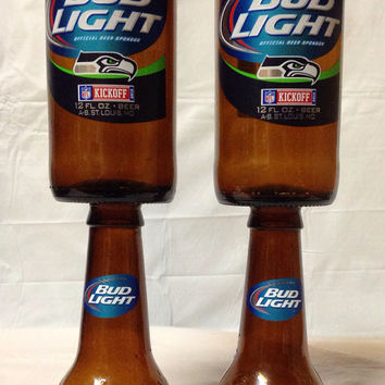 Bud Light Beer Bottle Wine Glasses. Recycled Glass Bottles.