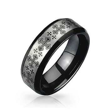 Black Two Tone Celtic Cross Couples Wedding Band Tungsten Ring 8mm