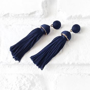 Navy Tassel Drop Earrings | NRFB