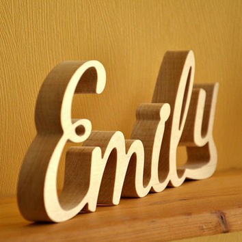 4 inches free standing wood name script wood letters home wood decor kids