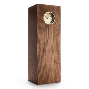 LEFF Tube Wood Table Clock in Brass/Brown Oak