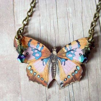 Butterfly Necklace in Peach, Apricot, Cornflower Blue Moth Pendant Gift Box