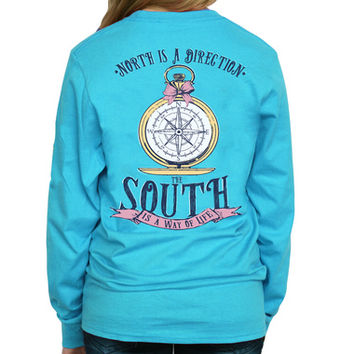 Compass Long Sleeve Tee - Aquatic Blue