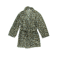 Aegean Apparel Womens Plush Leopard Print Short Robe
