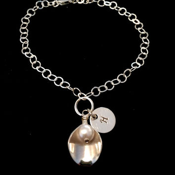 Beautiful Sterling Silver Calla Lily Bracelet with Pearl and Initial Disc Charm. Perfect Personalized Gift for Bridesmaids!