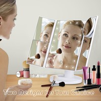 Trifold LED Lighted Makeup Mirror 2x/3x Magnification
