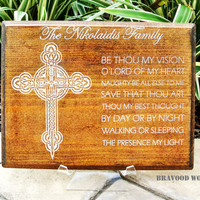Personalized Christian Family Last Name Signs CARVED,Custom Wooden Plaque Gift Anniversary,Cross Religious- Be Thou My Verson// BIG SIZE