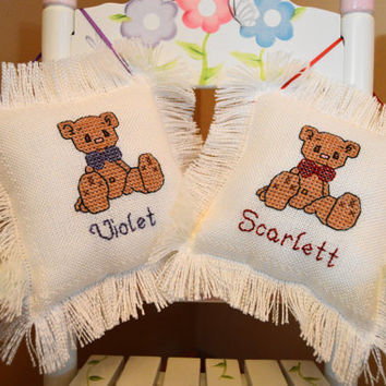 Twins Baby Pillows, Hand Stitched with Cross Stitching, Personalized with Names & Birthdate, Unique Baby Gift or Keepsake Pillow
