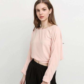 ONETOW hyh haoyihiuElegant solid back split Women t shirt batwing sleeve lace up button elegant loose shirts  lady tops