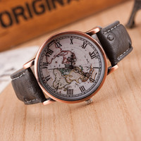 Unisex Vintage World Map Printed Leather Strap Band Watch + Gift Box