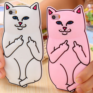 3D Cute Ripndipp Pocket Cat Case For iPhone 6 6S 6s Plus 5 5S SE Cartoon Soft Silicon Animal Middle Finger Cat Lovely Back Cover