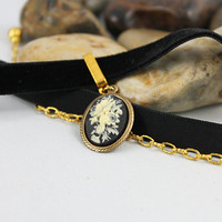 Black Velvet Flower Cameo Victorian Choker, Pretty Romantic Jewelry