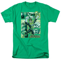 JLA/GREEN LANTERN PANELS - S/S ADULT 18/1 - KELLY GREEN -