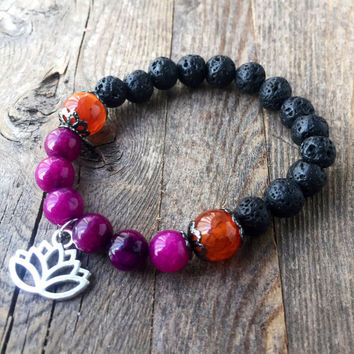 Fluorite and Carnelian Crystal Bracelet Essential Oil Diffuser Jewelry Girlfriend Gift for Her Black Lava Bracelet Healing Crystals Gems