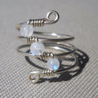 Rainbow Moonstone Wrapped Silver Wire Twist Ring Size 6