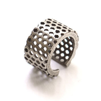 stainless steel geometric ring Perforated Honeycomb by ArchetypeZ
