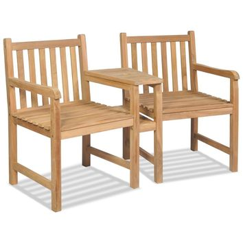 Outdoor Chairs 2 pcs Teak with Parasol Hole