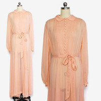 Vintage 40s Peach NIGHTGOWN / 1940s Sheer Chiffon Long Sleeve Peter Pan Collar Belted Full Length Dress