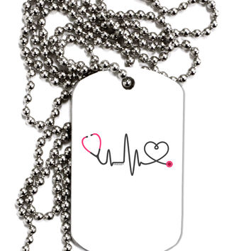 Stethoscope Heartbeat Adult Dog Tag Chain Necklace