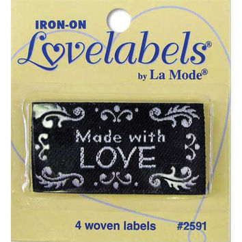 Labels, Made with Love, black, Craft Labels, Sewing Labels, BL-LL2590