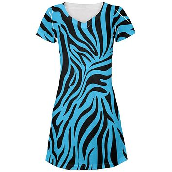 Zebra Print Blue Juniors V-Neck Beach Cover-Up Dress