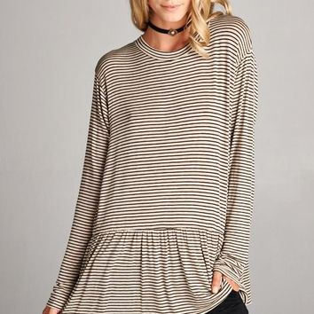 Peplum Long Sleeve Striped Top