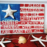 I Pledge Allegiance to The Sea  Nautical  Beach Starfish Flag