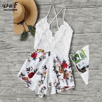 Dotfashion Floral Print Lace Paneled Romper Ladies Beach Wear Sleeveless Sexy Playsuits V Neck Criss Cross Backless Romper