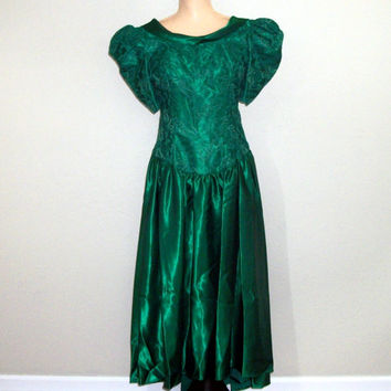 Green Formal Dress Size Large Bridesmaid Dress Christmas Wedding Vintage 1980s Christmas Dress Green Lace Satin Size 13 14 Womens Clothing