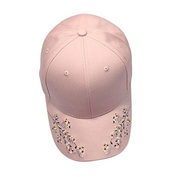 Snapback 2017 Baseball Cap Women Flower Embroidery Cotton Baseball Cap Snapback Caps casual summer Hats Gorras Mujer Casquette#5