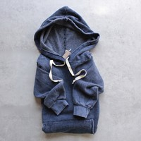 project social t - marty mineral wash pocket hoodie - moody blue