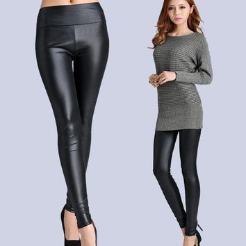 PEAPON New Faux Leather Leggings Sexy Fashion High-waist Stretch Material Pencil Women Leggings Sexy Leggings Women  Free Size