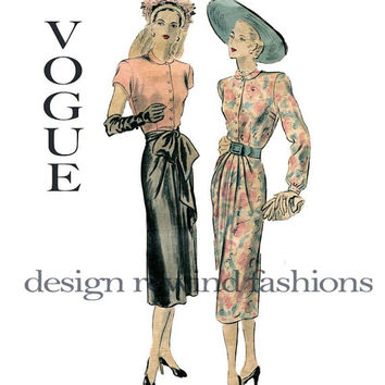 1940s Old Hollywood Draped Evening Cocktail Party Dress Front Skirt Pleats VOGUE COUTURIER 366 Size 14 Bust 32 UNCUT Vintage Sewing Patterns