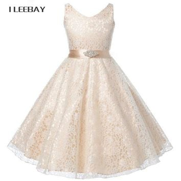 Summer 2018 Girl Lace Dress Wedding Elegant Dress for Girls Kids Party Birthday Clothes Child Prom Gowns Teenager Princess Dress