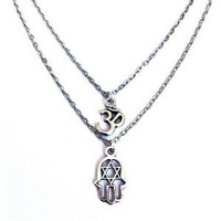 Empty Casket  — Hamsa & Om double necklace
