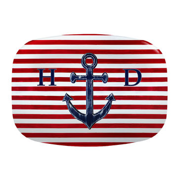 Monogrammed Serving Platter with navy blue anchor on red and white striped background