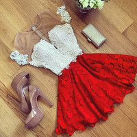 Elegant Women Lace Summer Dress 2016 Mesh Patchwork Fashion Ladies A-line O-Neck Sexy Perspective Mini Dress Vestidos Plus Size