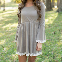 Lace Trim Elastic Waist Dress