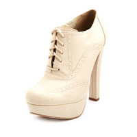 LACE-UP BROGUE HEEL BOOTIE