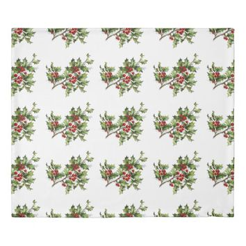 Holiday Holly Twin Size Duvet Cover