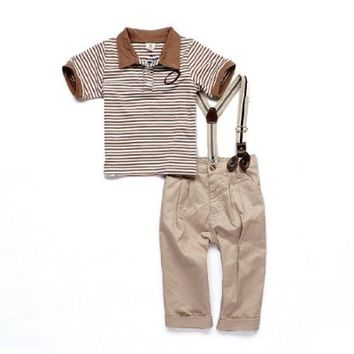 SOPO Toddler Baby Boys Clothes Summer Outfit with Suspender 9-12m, 2t, 3t, 4t, 5